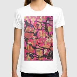 abstract gold and pink T-shirt