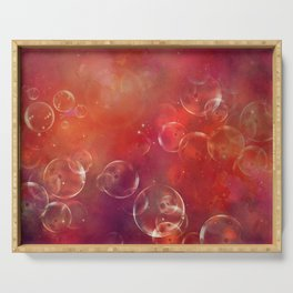 Into the red space surreal bubbles Serving Tray