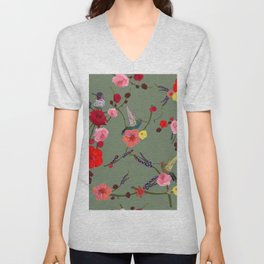Birds With Hibiscus and Roses Pattern green background Unisex V-Neck