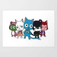 fairy tail Art Prints featuring Fairy Tail Cats by ZeroOmega