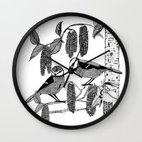 tits Wall Clocks featuring Blue Tits and Catkins by LindaWinegum