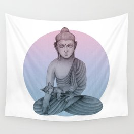 Buddha with cat1 Wall Tapestry