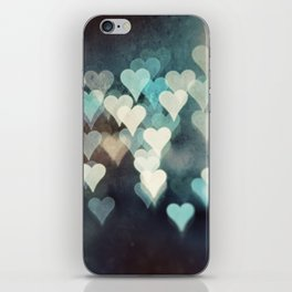 Heart Love Photography, Abstract Teal Turquoise Aqua Black Hearts iPhone Skin