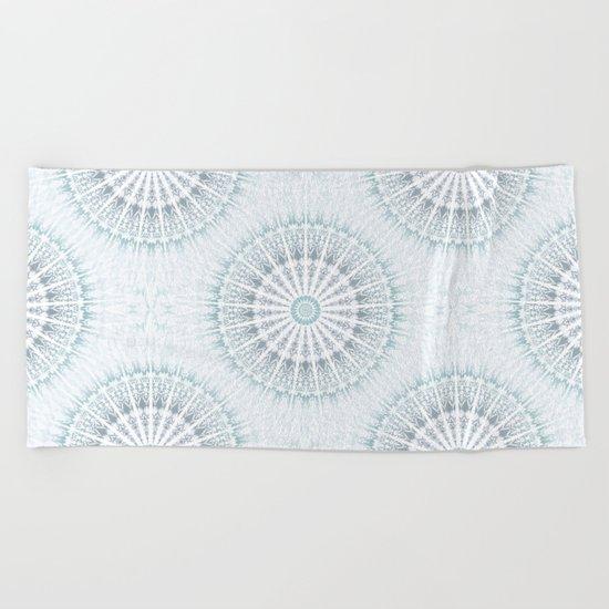 Teal Aqua Mandala Beach Towel