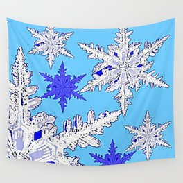 BEAUTIFUL BLUE & WHITE SNOW CRYSTALS  DESIGN Wall Tapestry