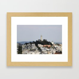 Streets Of San Francisco With Coit Tower Framed Art Print