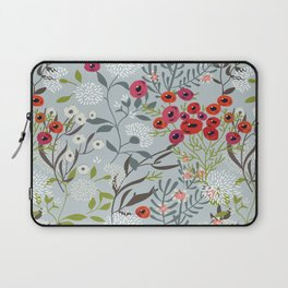 Red Poppies with Blue Laptop Sleeve