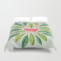dorothy Duvet Covers featuring Flamingos by Cat Coquillette
