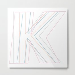 Intertwined Strength and Elegance of the Letter K Metal Print
