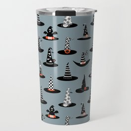 Halloween - Witch Hats on Gray Travel Mug