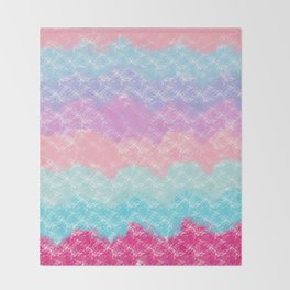 Abstract modern pink teal lilac watercolor waves Throw Blanket