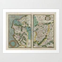 Vintage Map - Ortelius: Theatrum Orbis Terrarum (1606) - Calais, Boulogne, Vermandois Art Print