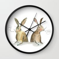 rabbits Wall Clocks featuring Rabbits by ELIZABETH GRAEBER