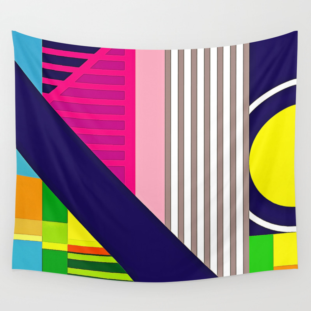 Modern Vibrant Geometric Pattern #2 Asst Stripes A… Wall Tapestry by Digitalrealityart TPS7233171