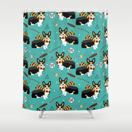 Corgi tricolored witch wizard magic dog breed gifts Shower Curtain
