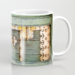 Antique Green Gold Door - Storybook Aesthetic - Cottage Chic - Ecclectic Boho - Travel Photography Coffee Mug