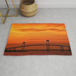 Newport Bridge - Newport, Rhode Island Orange Sunset Rug