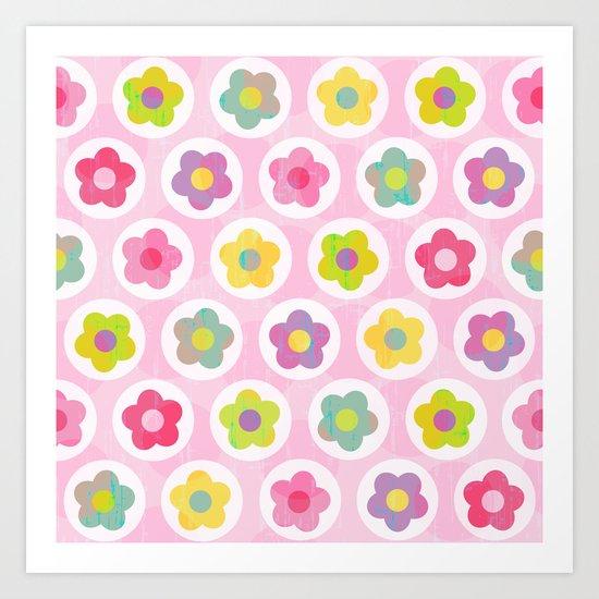 LAZY DAISY PINK Art Print