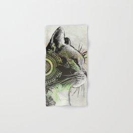 Tides Of Tomorrow: Lime (mandala tabby cat portrait) Hand & Bath Towel