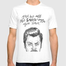 Ron Swanson. [Parks and Recreation] Mens Fitted Tee White SMALL