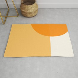 Fusion - Geometric Abstract Minimalism in Orange Cream Rug