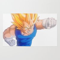 dragonball Area & Throw Rugs featuring Ascended Super Saiyan Vegeta by bmeow