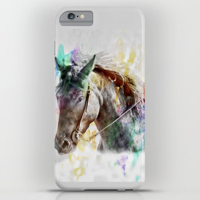 watercolor horse portrait iphone case