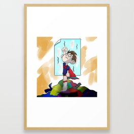 Laundry day superhero Framed Art Print