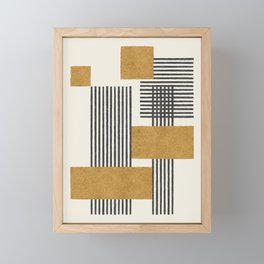 Stripes and Square Composition - Abstract Framed Mini Art Print