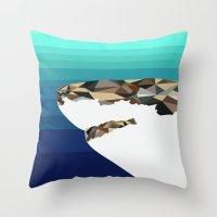 shark Throw Pillows featuring SHARK by Joan Horne