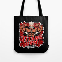 gym Tote Bags featuring T gym by Buby87
