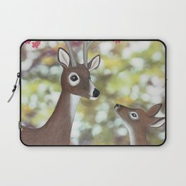 white tailed deer, tufted titmice, & cherry blossoms Laptop Sleeve