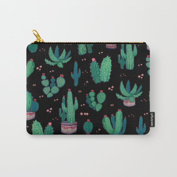 Cactus and Flowers collab. Carry-All Pouch
