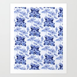 Blue Botanical Toile Art Print