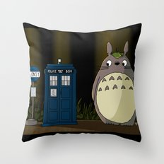 Allons-y Totoro Throw Pillow