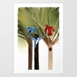 Blue Jays and Red Cardinal Art Print