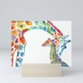 Mummy and Baby Giraffe College Dorm Decor Mini Art Print