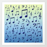music notes Art Prints featuring Music notes by Gaspar Avila