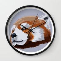 red panda Wall Clocks featuring panda by JuliaTara
