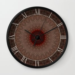 Brown mandala with red sun Wall Clock