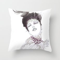 Purple dramatic fashion illustration Throw Pillow