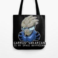 garrus Tote Bags featuring Garrus Vakarian Is My Space Boyfriend by Maggie Davidson