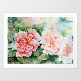 Dreamy romantic roses Art Print