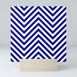 Navy Blue and White Jumbo Chevron Zig Zag Stripes Mini Art Print
