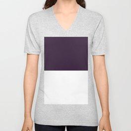 White and Dark Purple Horizontal Halves Unisex V-Neck