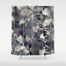 Thistle Flower Felted Plaid Pattern Shower Curtain