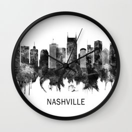 Nashville Tennessee Skyline BW Wall Clock