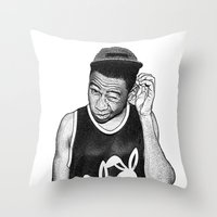 tyler the creator Throw Pillows featuring Tyler the Creator by Rui Faria