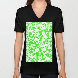 Spots - White and Neon Green Unisex V-Neck