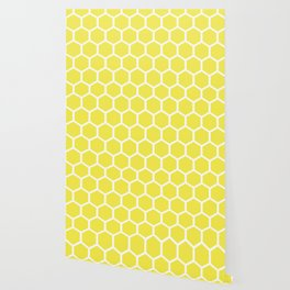 Honeycomb pattern - lemon yellow Wallpaper